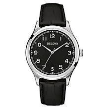 bulova watches designer watches ernest jones bulova men s stainless steel black leather strap watch product number 3542297