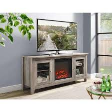 58 in wood media tv stand console with fireplace grey wash