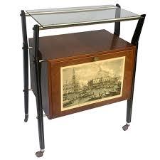 italian bar furniture. Italian Bar Or Cart In Walnut, Venice Print And Light, Italy, 1950s Signed Furniture