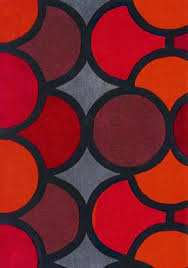 red geometric rug harlequin bubble