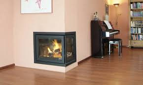 wood burning fireplace insert 3 sided double sided corner