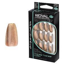 Royal Cosmetic Royal Umělé Nehty Bronzovo Zlaté Třpytivé Twinkle Twinkle Coffin 24 Glue On False Nails Tips 24ks S Lepidlem 3g