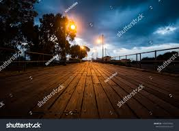 Special Lights Larnaca Great Wooden Pier Early Morning Burning Stock Photo Edit