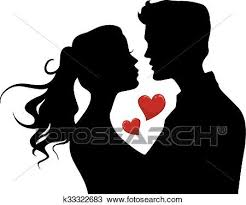 hearts silhouette clipart of couple kiss silhouette hearts k33322683 search clip art