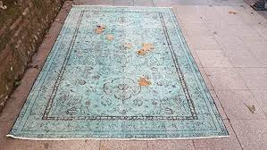 64x97 Feet Vintage Overdyed Rug Blue Green Brown Turquoise Faded