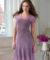Free Crochet Dress Patterns Enchanting Dress With Flare Red Heart