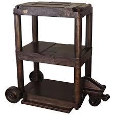 Vintage Metal Kitchen Cart Vintage Industrial Three Tier Three Wheel Factory Machine Cast