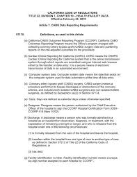 Oshpd Chart Of Accounts California Code Of Regulations Title 22 Division 7