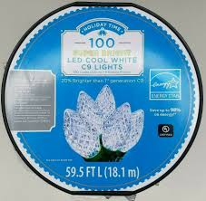 Holiday Time Cool White Led C9 Lights 100 Count Holiday Time 59 5 Ft 100 Super Bright Led C9 Lights Cool White Indoor Or Outdoor