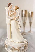 Glam Off White Porcelain Bride And Groom Wedding Cake Topper