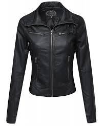 women s slim fit buckle biker faux leather jackets