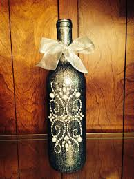 Decorated Wine Bottle Centerpiece, Black & Silver. Wine Bottle Decor.  Wedding Table Centerpieces