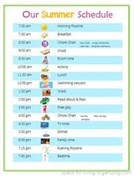 Summer Daily Schedule Template Sample Schedule For 5 Year Old Detailed Organized Schedules