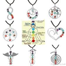 whole love heart infinity wings seven beads natural quartz gemstones stone pendant necklace meditation healing point chakra reiki pendent necklace red