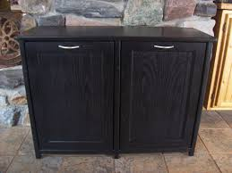 Storage Bin Cabinet New Black Painted Wood Double Trash Bin Cabinet Garbage Can
