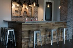 rustic basement bar crafted reclaimed wood brick design