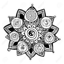 Doodle Stijl Monochrome Zwarte Lijn Art Lotus Met Yoga Chakra