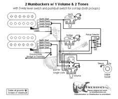 guitar wiring diagram 2 humbuckers 3 way toggle switch 2 volumes 2 guitar wiring diagram 2 humbuckers lever switch one volume and two tone controls push pull for single coil mode