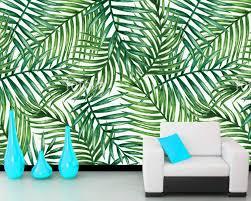Custom Muur Blad Behang Aquarel Tropische Palm Bladeren Fresco