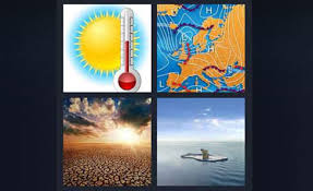 4 pics 1 word sun with thermometer weather map desert polar bear on ice