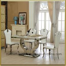 china modern stainless steel dining room table and faux leather side chair with water drop shape high back china dining chair dining table and chair