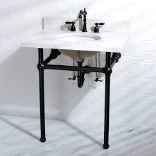 vintage console sink the elegant design has a white quartz top ceramic sink and metal legs