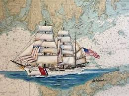 Details About Uscgc Eagle Nautical Chart Art Print Coast Guard Academy Wix327 Gift Painting