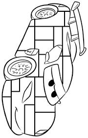 Cars Auto Bliksem Kleurplaat Mondriaan Inkleuren Met Zwart Geel