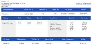 Paycheck Stub Layout Paystub Sample Templates Thepaystubs Com