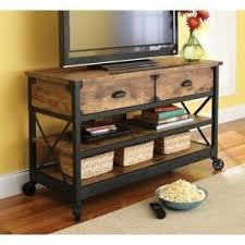 rustic country antiqued black pine panel tv stand for tvs up to 52