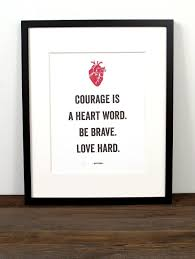 art print featuring bren brown quote courage is heart word be brave love on brene brown wall art with art print featuring bren brown quote courage is heart word be