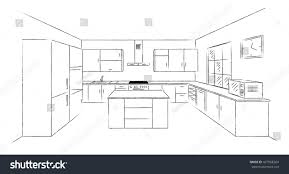 kitchen drawing perspective. Simple Kitchen Sketch Hand Drawing Kitchen Interior Plan With Island Vector  Project Illustration In Perspective On Kitchen Drawing Perspective K