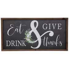 Farmhouse decor with a splash of red and turquoise color. Eat Drink Give Thanks Wood Wall Decor Hobby Lobby 5452214