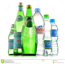 Bottles Of Assorted Global Mineral Water Brands Editorial