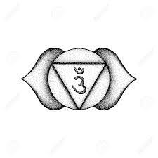 Vector Third Eye Ajna Sixth Chakra Sanskrit Seed Mantra Om Hinduism Syllable Lotus Petals Dot Work Tattoo Style Hand Drawn Black Monochrome Symbol
