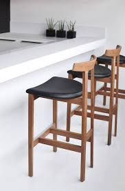 contemporary wood bar stools with black leather seats  wood bar