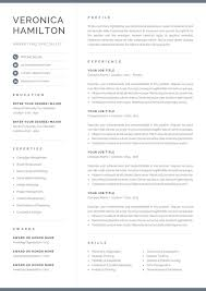 One Page Resume Templates Modern Professional Resume Template Compact 1 Page Resume