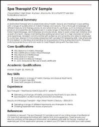 Qualification Sample For Resume Spa Therapist Cv Sample Myperfectcv