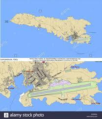 Lampedusa Isola Mappa Della Città Illustrazione Vettoriale