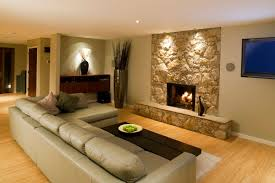 ... Awesome Basement Interior Design Ideas : Clean And Sleek Basement  Family Room With Grey Sofa,