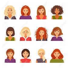 女性アバターの外観のさまざまな種類のコレクションです女性のヘアスタイルベクトル図