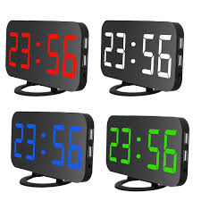 electronic led mirror digital desktop decoration alarm clock wall clock with dual usb port for cell phone tablet pc snooze automatic dimming at banggood