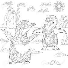 Kleurplaat Van Jonge Pinguïns Onder Het Arctische Landschap