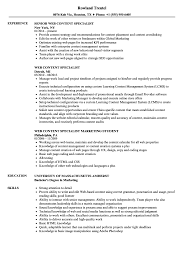 Web Content Specialist Resume Samples Velvet Jobs