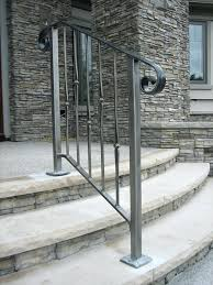 outdoor metal stair railing. Porch Stair Railing Kits How To Install An Outdoor Aluminum Handrail Handyman Club Outside . Metal A