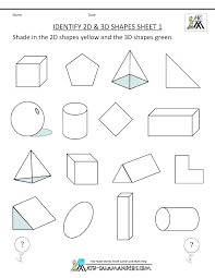 Three Dimensional Shapes Worksheets Kindergarten Solids And Their ...