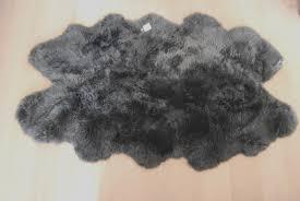 huge slate grey sheepskin rug