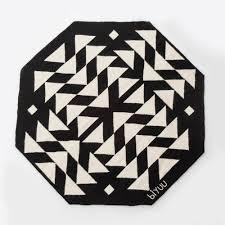 black and white wool rug
