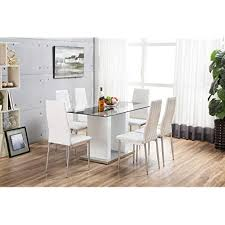 furnitureboxuk florence high gloss white gl dining table set and 6 faux leather chairs seats