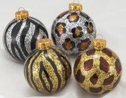 Animal <b>Print Glass</b> Ball Ornament-Set of 4 | <b>Christmas tree</b> ...